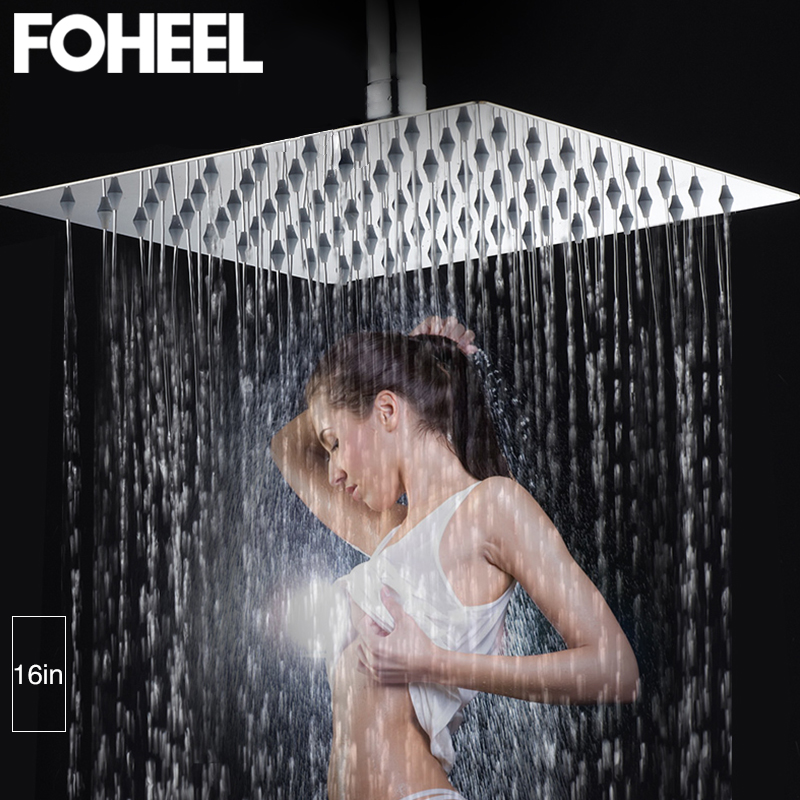 FOHEEL Square 16 Inch 40cm*40cm Rainfall Shower Head Stainless Steel Polished Chrome Bathroom Square Rainfall Shower Heads
