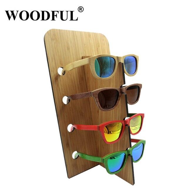 368b92d92e5a Woodful Natural Bamboo Sunglass Racks Wood Glasses Display Stand Sunglasses  Shelf Stand For 4 pairs Sunglasses