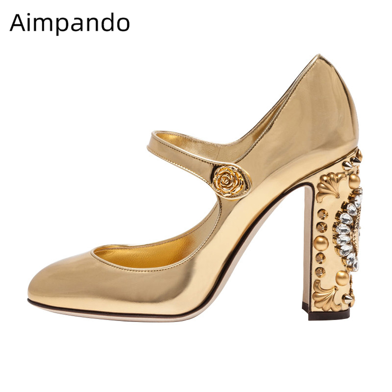 Individual Clock Decor High Heel Pumps Women Bright Gold Patent Leather Rhinestone Bridal Wedding Shoes Party Shoes WomanIndividual Clock Decor High Heel Pumps Women Bright Gold Patent Leather Rhinestone Bridal Wedding Shoes Party Shoes Woman