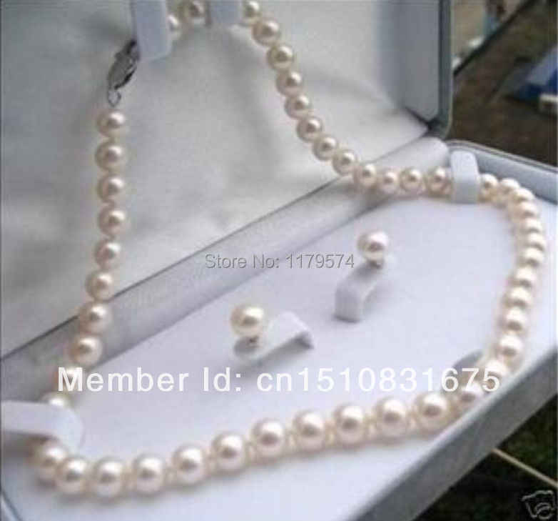 "Beautiful 8-9mm White Akoya Pearl Necklace Earring 17.5""xu89"