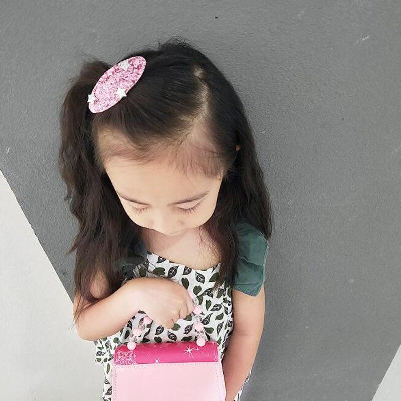 2018 New Cartoon Girls Star Sparking Hairpin Cute Princess Headband Glitter Barrettes Kids Hair Accessories Children Snap clip in Hair Accessories from Mother Kids