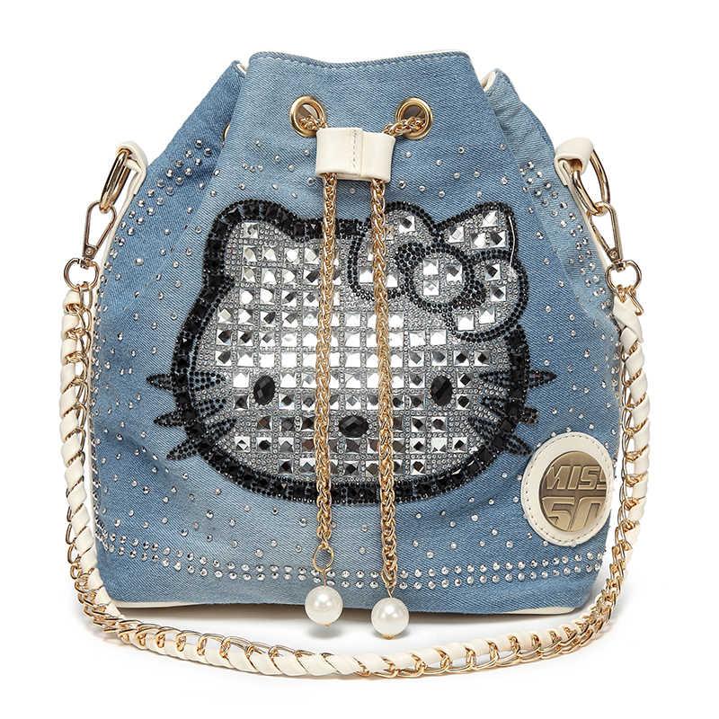 Marca bolsa olá kitty bolsa de ombro mulheres saco de gato fêmea grande tote sacos de Diamantes Denim de alta qualidade senhoras de couro crossbody