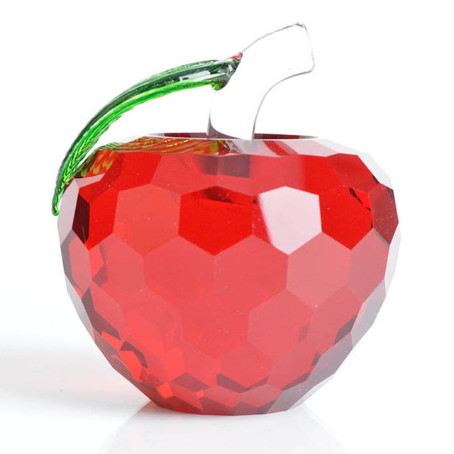 Red Apple Crystal Ball Feng Shui For Home Decor World Globe Wedding Gifts  Crystal Crafts U0026
