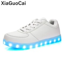 Light Shoes USB Charger LED Women Casual Footwear Luminous Sneakers For Lovers Glowing Female Flats Lace Up Glowing Couple Shoes