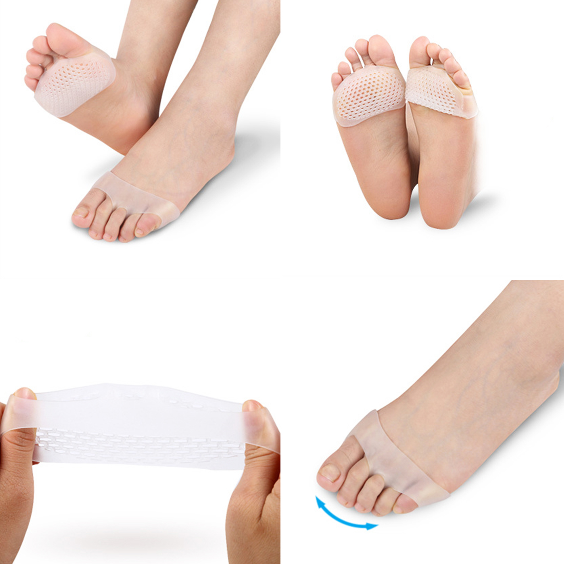 Feet Care Heel Shoes Slip Resistant Pads Foot Care Tools 1 Pair Silicone Gel Insoles Pads Cushions Forefoot Pain Support Front