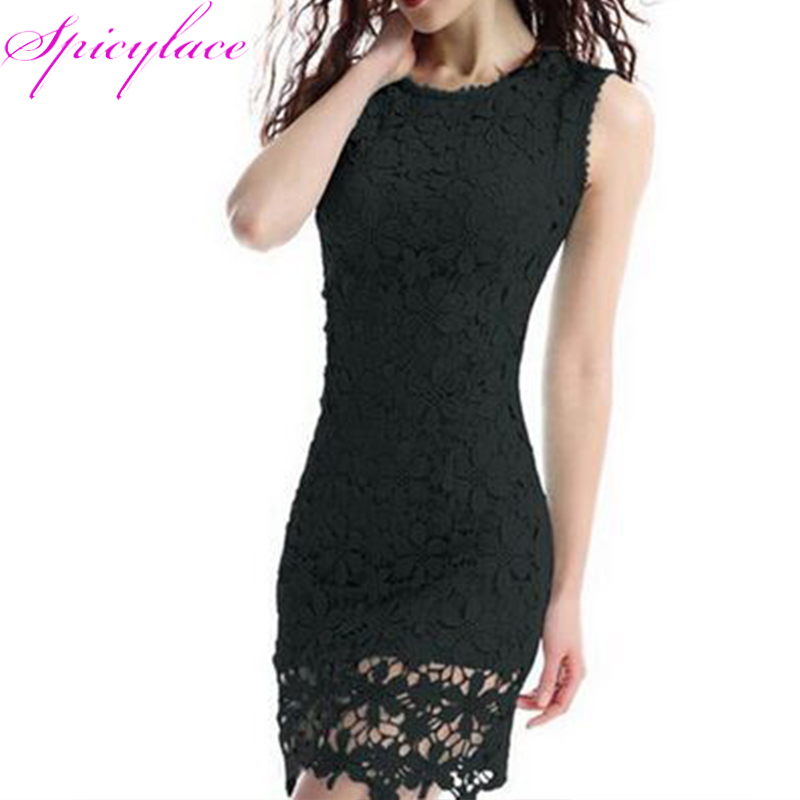 Black Women's Spring Summer Lace Dresses O Neek Sleeveless Knee-Length Bodycon Hip Sexy Pencil Dress