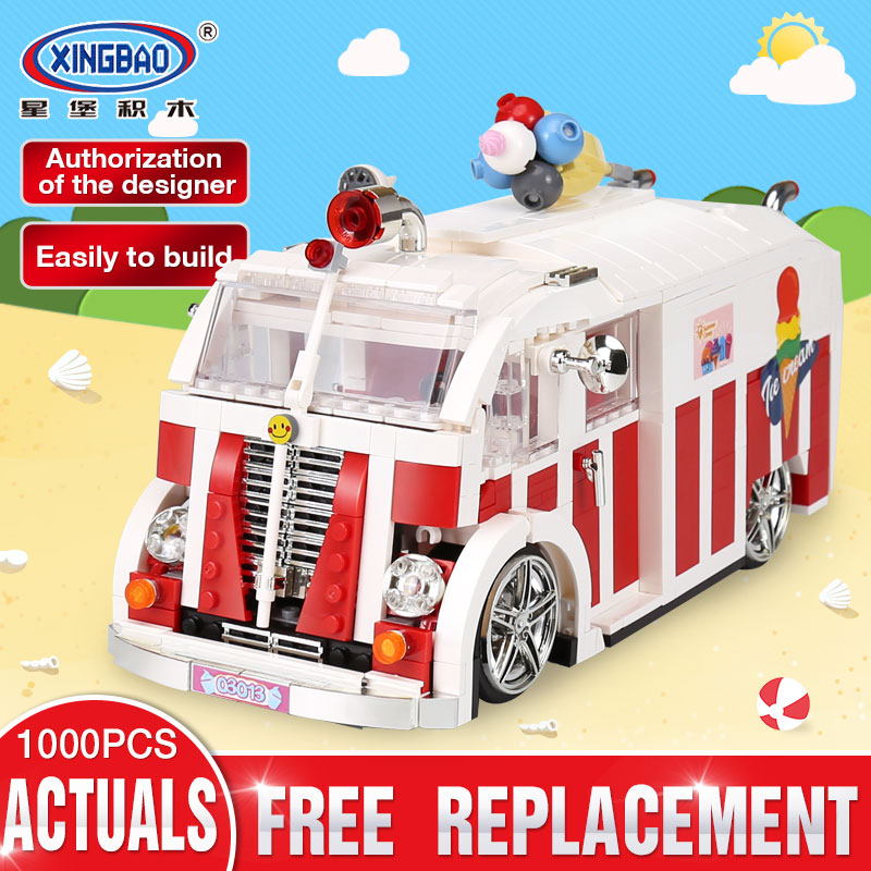 Xingbao 08004 Genuine 1000Pcs Technic Series The Ice Cream Car Set Building Blocks Bricks Children Educational Toys Model Gifts doinbby store 21004 1158pcs with original box technic series f40 sports car model building blocks bricks 10248 children toys
