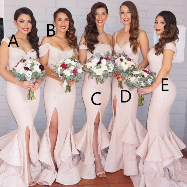cda8984cfe mismatched long light pink sequin long cheap mermaid slit off shoulder 2017 bridesmaid  dress BD1021