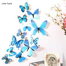 ISHOWTIENDA 2017 New Beautiful 12pcs Decal Wall Stickers Home Decorations 3D Butterfly Rainbow Stickers New(China)