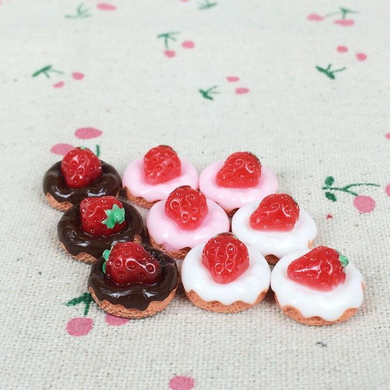 10Pieces Flatback Flat Back Kawaii Resin Cabochon Fake Miniature Food <font><b>Strawberry</b></font> Cake Resin Craft <font><b>Decoration</b></font> For <font><b>Doll</b></font> House:15mm