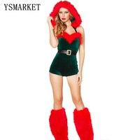 2014 New Green Velvet Women Sexy Miss Santa Christmas Costume S7251 Halloween Party Cosplay Fancy Dress