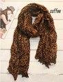 Design de moda Popular Senhora Algodão Sexy Leopardo Café Impressão de Grandes Dimensões Mulheres de Longo Leopardo Cachecóis Cachecol de Alta Qualidade Para Você!