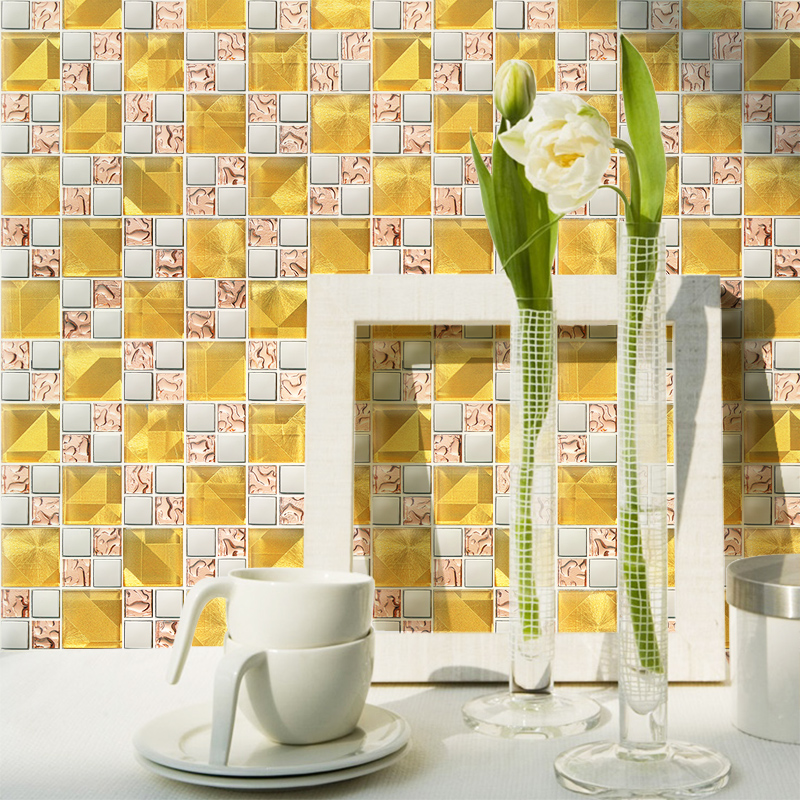 Фото Glass mosaic tile fashion crystal tv background wall mirror decoration materials bedroom wall paper stickers puzzle fireplace