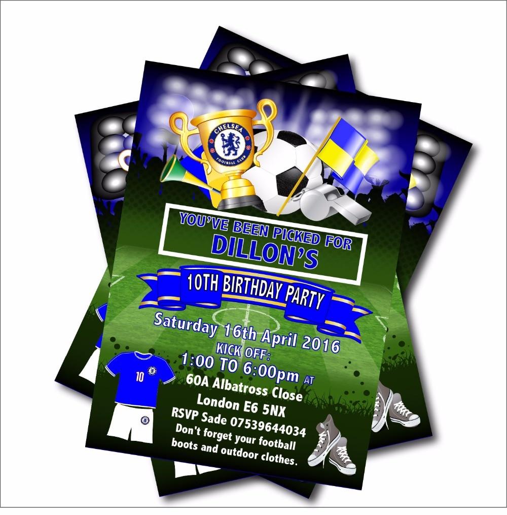 4 9 40 De Descuento 14 Unids Lote Personalizado Fútbol Cumpleaños Invitación Bebé Ducha Invitación Niños Deporte Fiesta Decoración Suministro Envío