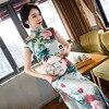 New Chinese Traditional Women S Satin Qipao Elegant Print Long Cheongsam Vintage Flower Sexy Dress Plus