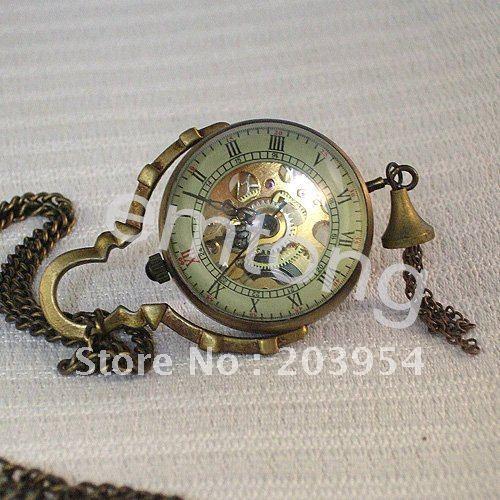 Antique Vintage Style hand wind Mechanical Pocket Watch 1pcs/lot steampunk Bronze Ball Pendant Necklace Men Women Free Chain hot