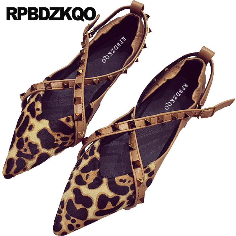 83faab8fe9 Detail Feedback Questions about ladies beautiful flats shoes designer rivet  fashion chinese stud black women leopard print pointy pointed toe dress  china ...