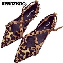 Rivet stud leopard  pointed toe flat
