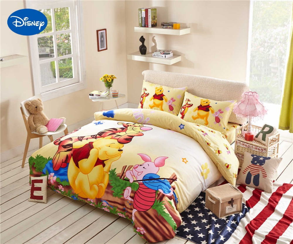 Winnie The Pooh Tigger Piglet Bedding S Comforter Cotton Bed Sheet Duvet Cover Set Single Twin Queen Disney Character Yellow In Sets From Home
