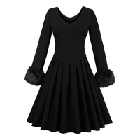 Sisjuly Vintage Dress Autumn Winter Black 1950s Retro Elegant Cotton Party Dresses Pleated Dress Vintage Dress