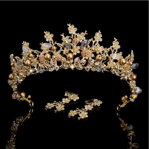Luxury Pink Gold Pearl Bridal Crowns Handmade Tiara Bride Headband Crystal Wedding Diadem Queen Crown Wedding Hair Accessories