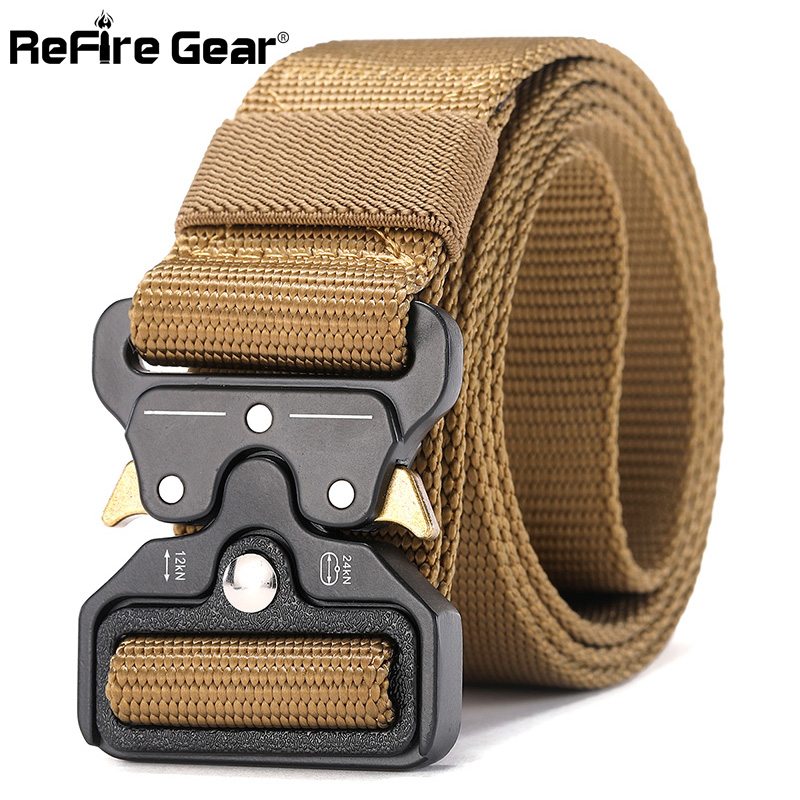 ReFire Gear Military Equipment Quick Release Army Belt Men Heavy Duty Combat Tactical Belt Casual Durable Nylon Strap Waist Belt