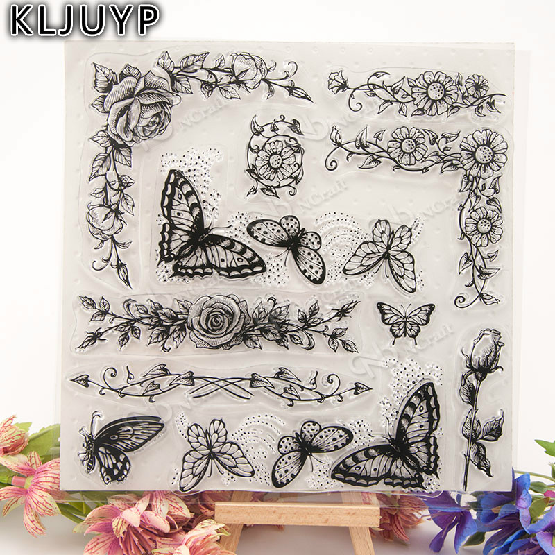 KLJUYP Butterfly Transparent Clear Silicone Stamp/Seal for DIY scrapbooking/photo album Decorative clear stamp sheets lovely elements transparent clear silicone stamp seal for diy scrapbooking photo album decorative clear stamp sheets