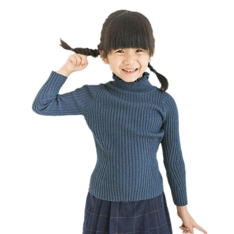 Funfeliz Ribbed Sweater Kids Children Turtleneck for Girls 2018 Autumn Winter Baby Knit Sweaters Toddler Pullover