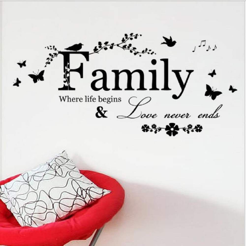 9050cm family love never ends quote vinyl wall decal wall 9050cm family love never ends quote vinyl wall decal wall lettering art words wall sticker home decor wedding decoration in wall stickers from home amipublicfo Choice Image