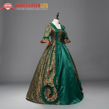 Renaissance Georgian Dress Brocade Period Gothic Victorian  Halloween Dresses