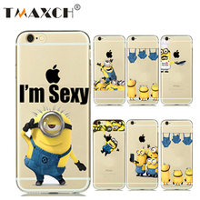 f224d6d30c Funny Cute Cartoon Yellow Minion Case For iphone 5 5s 6s Clear Soft TPU  Back Cover For iphone 7 8 6 Despicable Me Accessories