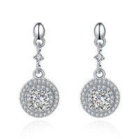 SVE005 2017 New Fashion 100 Real Genuine 925 Sterling Silver AAA Zircon Round Drop Earrings For