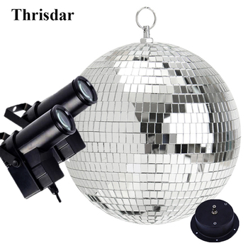 Thrisdar D30CM 12 Reflection Glass Ball Light Disco Mirror Ball With Motor & 2PCS 10W RGB Beam PinSpot Stage Disco Party Lamps