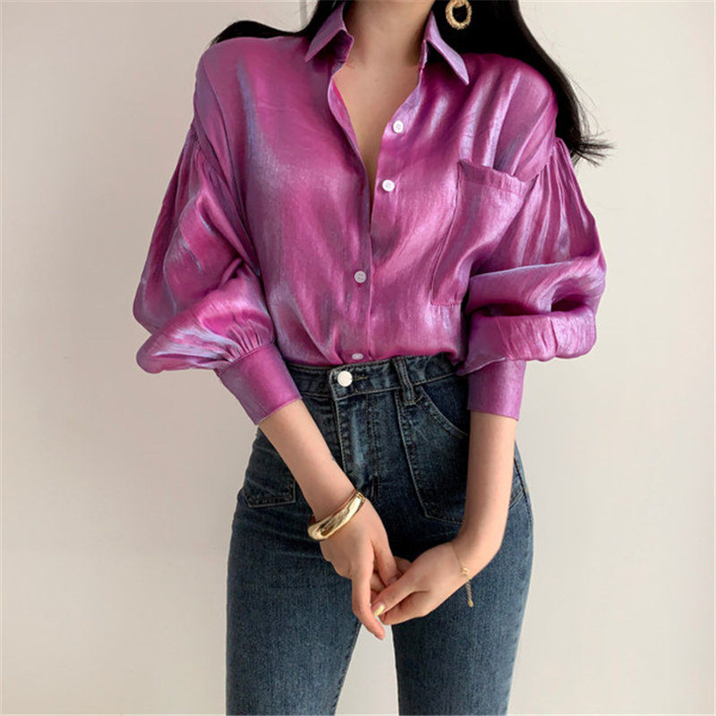 HziriP 2019 Summer Reflective Loose Vintage Fashion Solid Thin Tops Retro Free Elegant Women All Match Casual Shirts 2 Colors