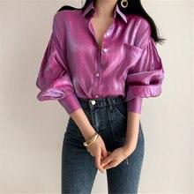 HziriP 2019 verano reflectante suelta Vintage moda sólida fina Tops Retro libre elegante mujer todas las camisas informales combinan 2 colores