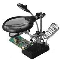 프로모션 판매 브라켓 돋보기 16129-C 5 LEDs 보조 클립 돋보기 상호 교환 렌즈 도구 용접 성형 필드