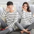 Весна и осень любителей пижамы 100% хлопок с длинным рукавом полосой пижамы женский набор осень и зима мужские плюс размер плюс