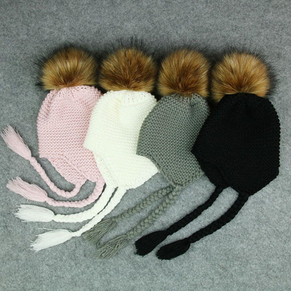 Daddy Chen Kids Ears Beanie Thick Warm Children Cap Baby Hat with Pompom Cotton Newborn Winter Fur Pom Pom Hats for Childen