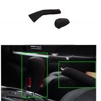 السيارة فرملة اليد التروس مجموعات الجلد الحقيقي التلقائي خياطة على تعديل جلد تغطية ل ميتسوبيشي asx 2013 2014 2015 2 قطع