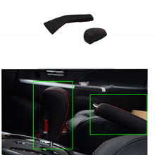 Car Handbrake Gear Sets Real Leather Jacket Automatic Sew-On Modified Leather Cover For Mitsubishi ASX 2013 2014 2015 2pcs