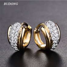 BUDONG Round Crystal Women Hoop Earrings Silver Gold Color Zirconia Hoop Hollow Infinity Earring Jewelry for
