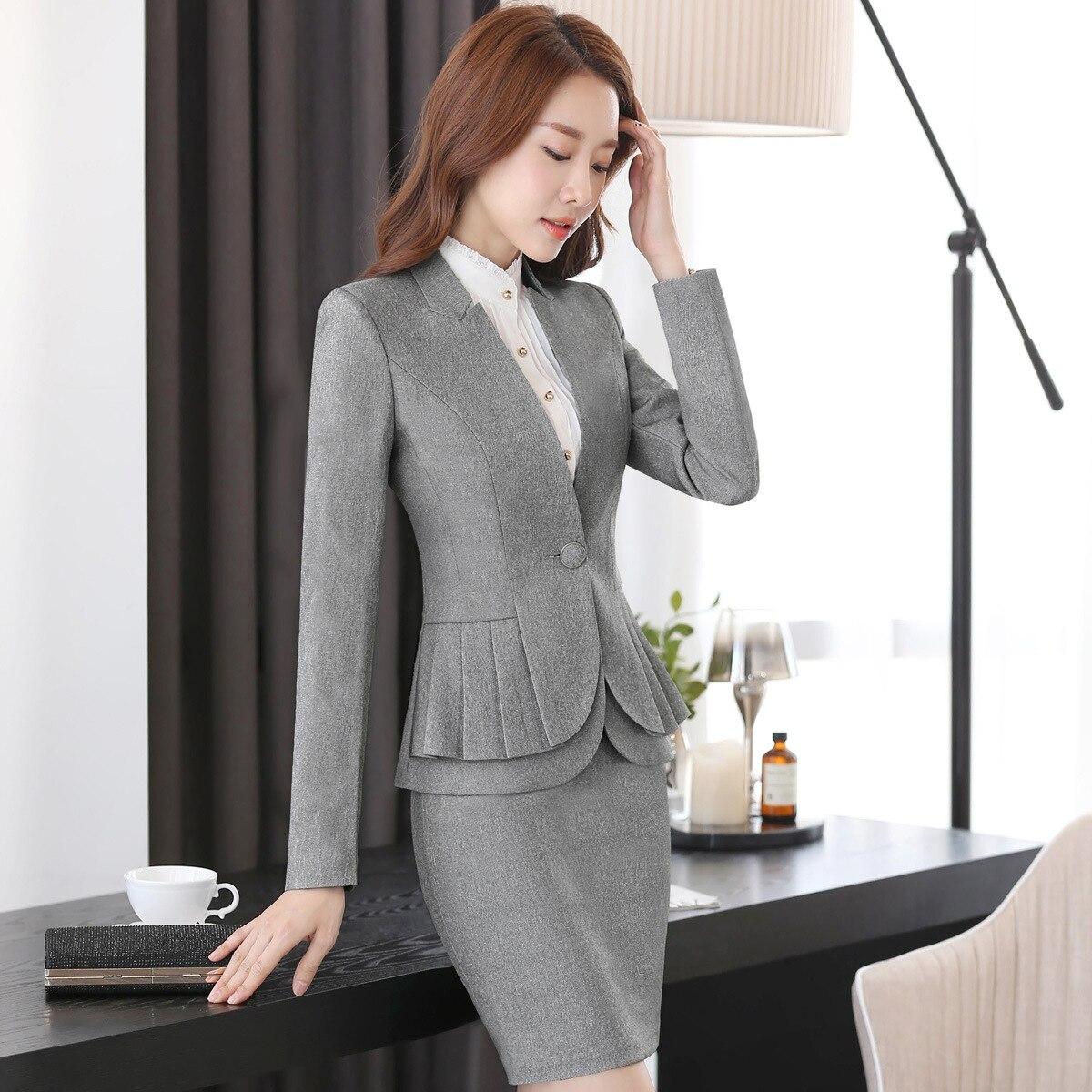 Professional Women Skirt Suits Blazers Autumn Business Ladies Office Work Wear White collar (jacket/Skirt /shirt / pants) - 2
