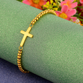 2016 New Gold Plated Stainless Steel Beaded Cross Bracelets For Women Bangles&Bracelets Fashion Jewelry Wholesale Price Gift N3