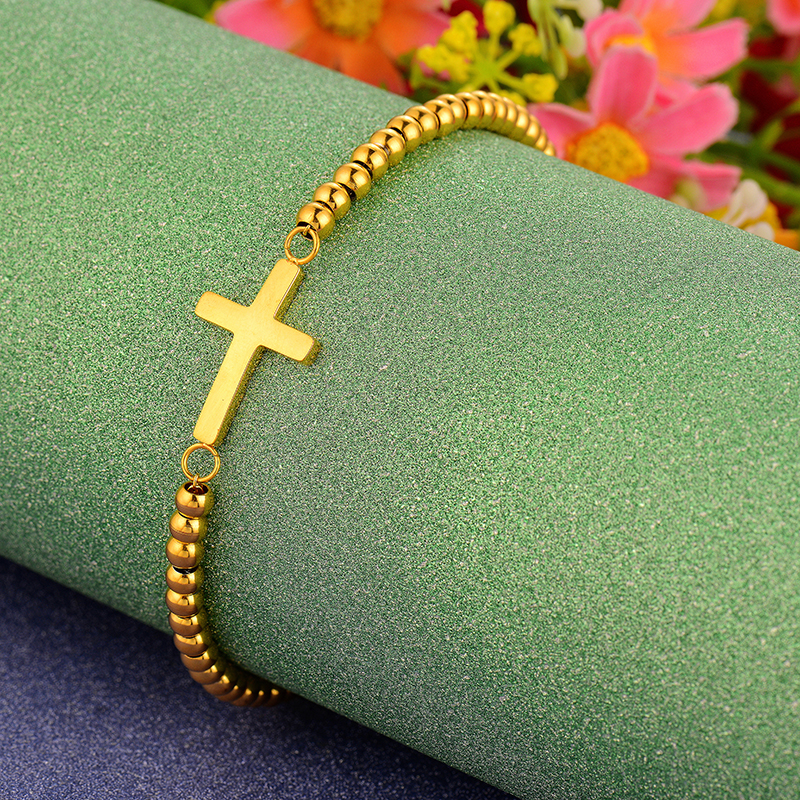 2017 New Gold Color Stainless Steel Beaded Cross Bracelets For Women Bangles&Bracelets Fashion Jewelry Wholesale Price Gift N15