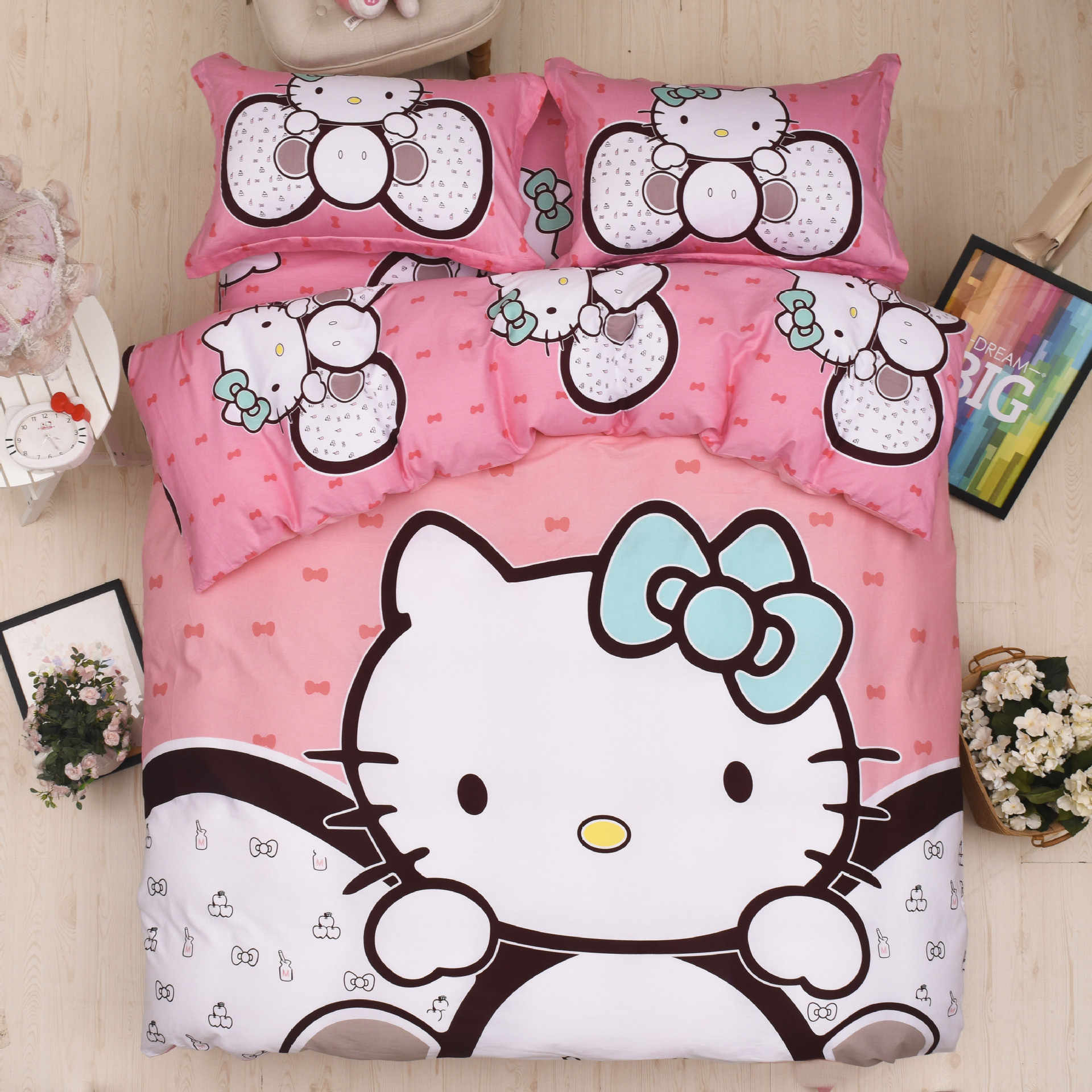 Bedding Set 100% cotton Hello Kitty Doraemon cartoon pink series love 4pcs/3pcs soft Duvet Cover Sets Bed Sheet Set Pillowcase