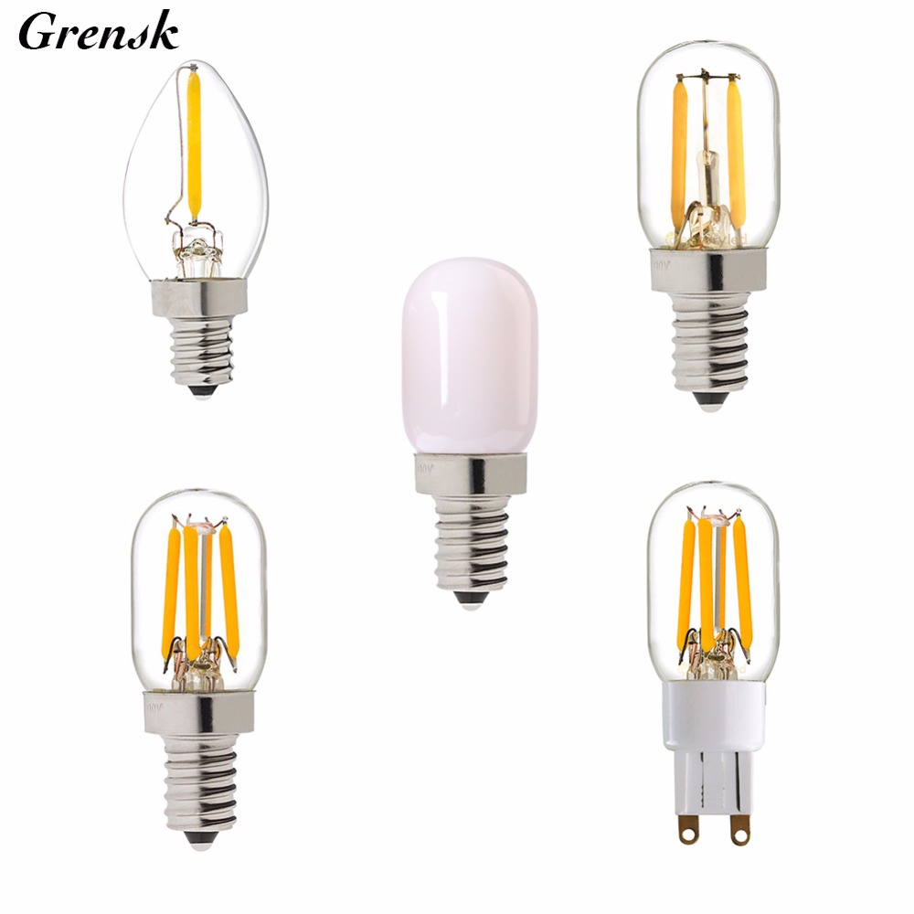 C7 T20 Night Bulb,0.5W 1W 2W,Edison Refrigerator LED Filament Bulb,E12 E14 G9 Base,Retro Mini Lamp,110V 220VAC,Dimmable t20 refrigerator led filament bulb 1w