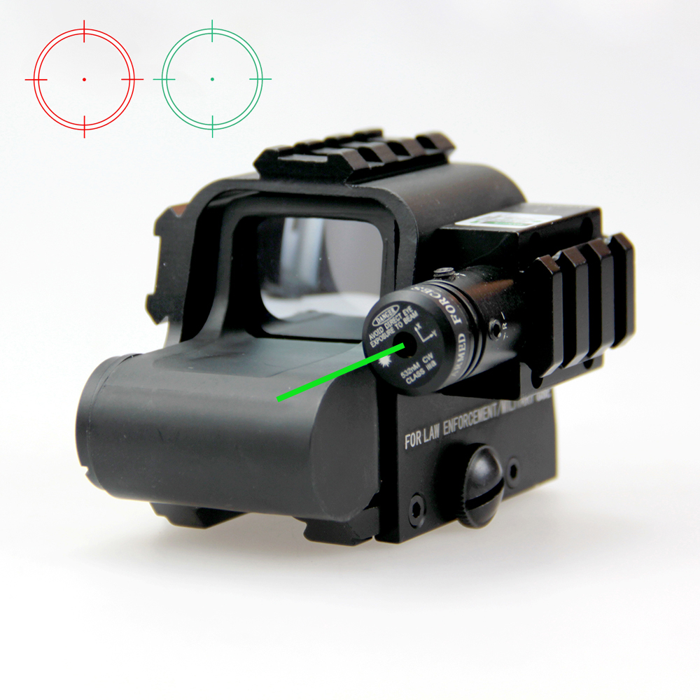 New Tactical Red and Green Reflex Holographic Dot Sight With Green Laser Beam and 3pcs 20mm Side Rail For Outdoor Hunting. hunting combo metal green dot laser sight led flashlight 200lm 3w with 20mm rail weaver picatinny for glock 17