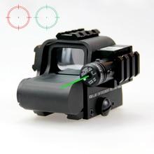 Новый тактический красный и зеленый рефлекс голографический точечный прицел с зеленым лазерным лучом и мм 3 шт. 20 мм Боковой рельс для наружной охоты.