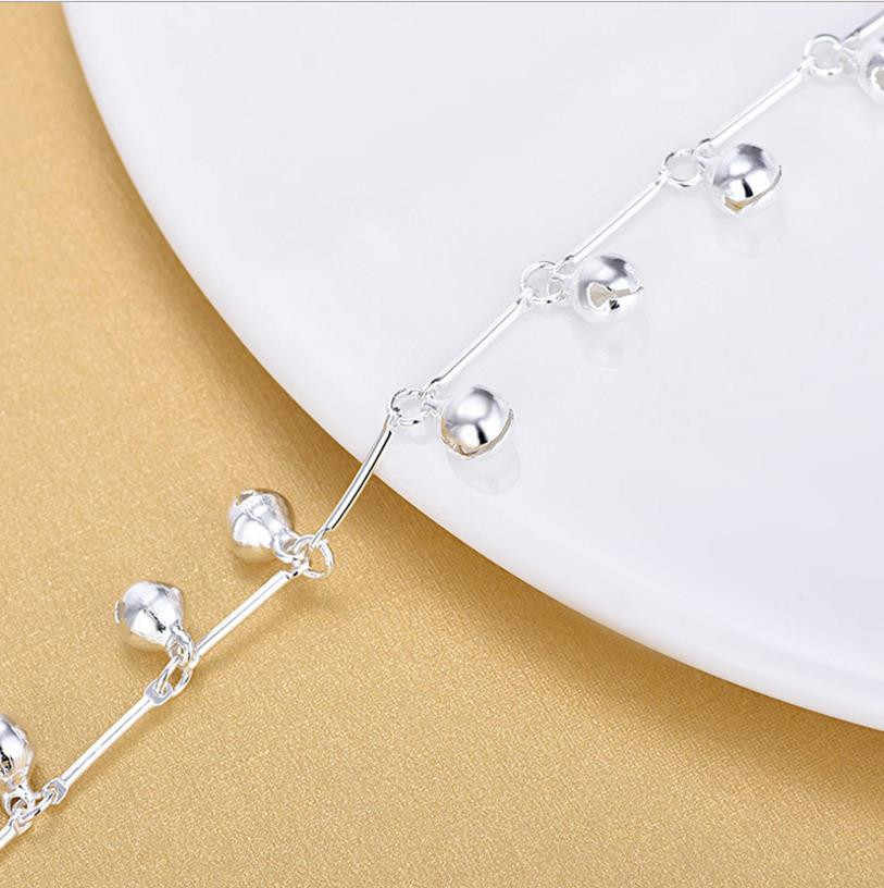 Tjpトップ品質925銀アンクレット女性のためのジュエリーファッション竹チェーン鐘女の子ブレスレットレディパーティーアクセサリークリスマス