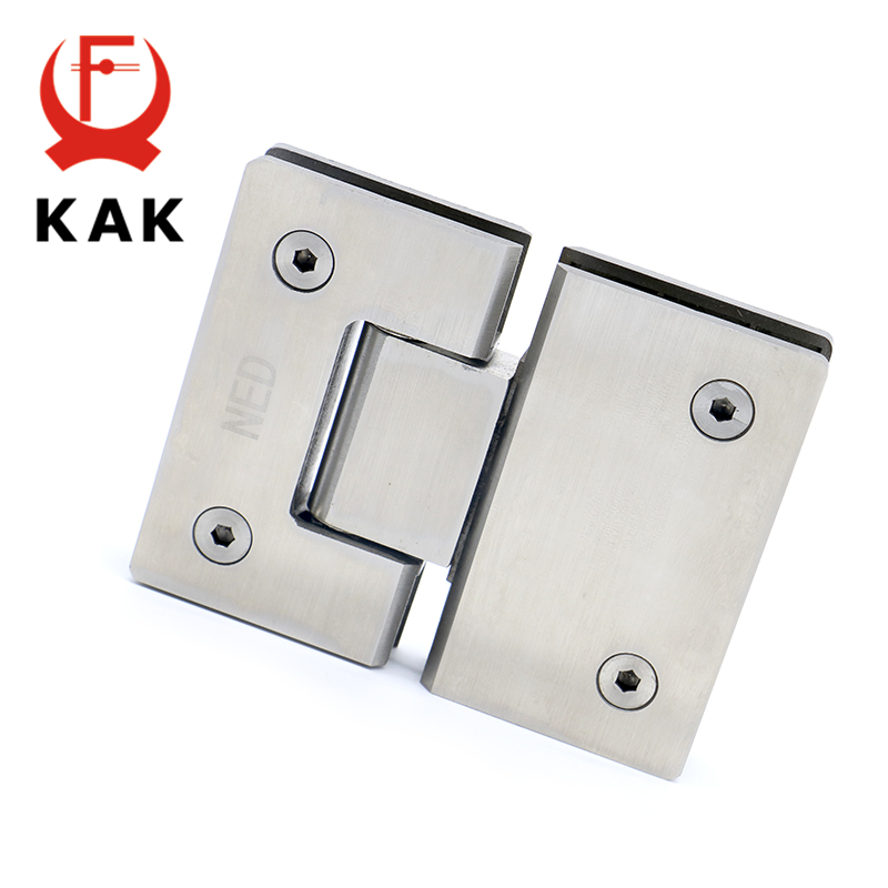 2PCS KAK-4904 180 Degree Open 304 Stainless Steel Wall Mount Glass Shower Door Hinge For Home Bathroom Furniture Hardware rose gold 180 degree hinge open 304 stainless steel glass shower door hinges for home bathroom furniture hardware hm155